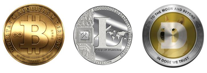 Криптовалюты биткоин, литекоин, догекоин